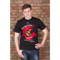 Черная мужская именная футболка Последний звонок