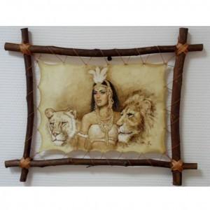 Картина на коже Девушка и львы