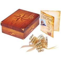 Подарочная коробка с открыткой и бантом «Роза ветров»