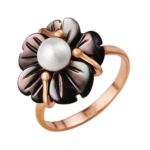 Позолоченное кольцо с темным перламутром и жемчужиной