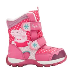 Розовые сноубутсы на липучке Peppa Pig