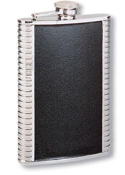 Металлическая фляга S.Quire, черная кожаная вставка, 0,15 л