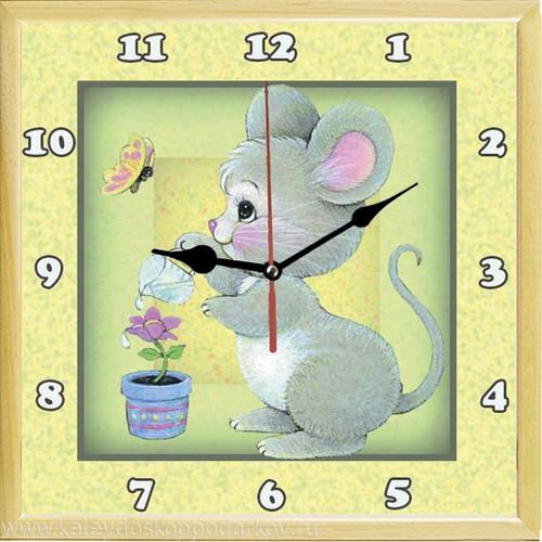 Настенные часы из песка Мышка