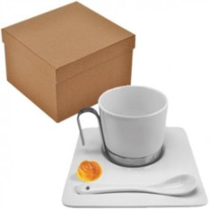 Чайная пара Гармония с ложечкой в подарочной упаковке