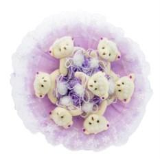Букет с медвежатами Зефирки фиолетовго цвета