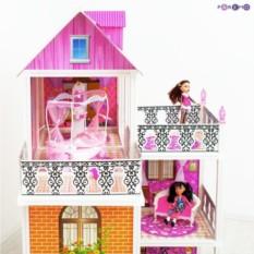 3-этажный кукольный дом с 6 комнатами