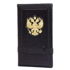 Черная кожаная визитница Герб России