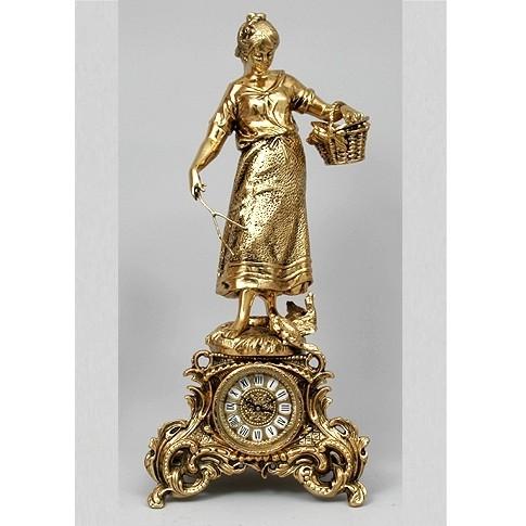 Часы каминные бронзовые Девушка с корзинкой