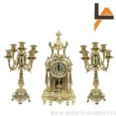 Часы и 2 подсвечника на 5 свечей Ампир