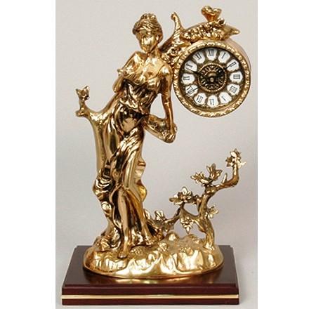 Часы бронзовые каминные Дама