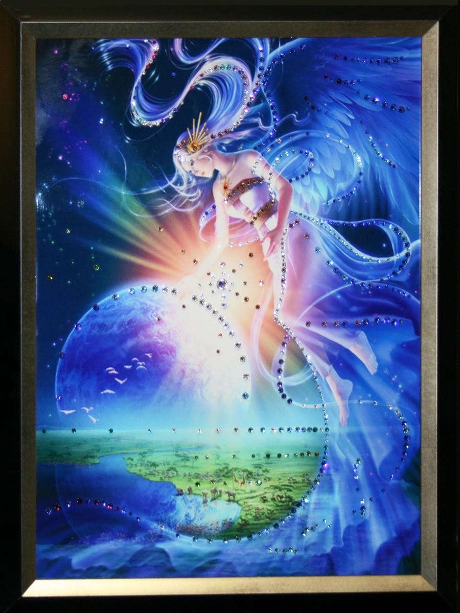 Картина с кристаллами Сваровски Над землей