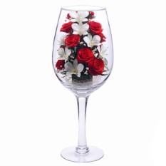 Цветы в стекле: композиция из натуральных орхидей и роз