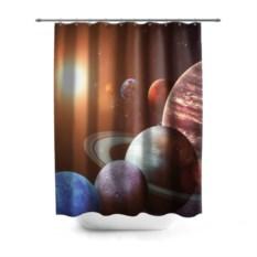 3D-штора для ванной Планеты солнечной системы