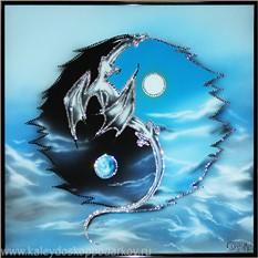 Картина с кристаллами Swarovski Инь-ян с драконом