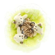 Букет с медвежатами Зефирки салатового цвета