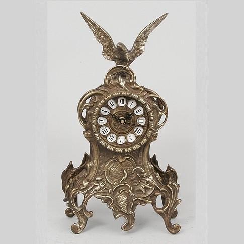 Часы бронзовые каминные с орлом