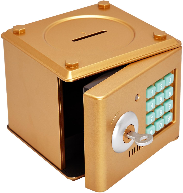 Копилка пластиковая «Мини сейф», золотая