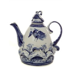 Заварочный керамический чайник с росписью Деревенька