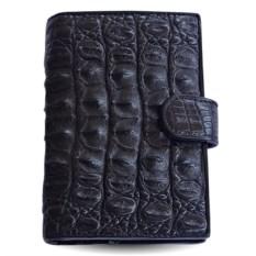 Черное портмоне для автодокументов из кожи спины крокодила