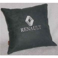 Темно-серая подушка с белой вышивкой Renault