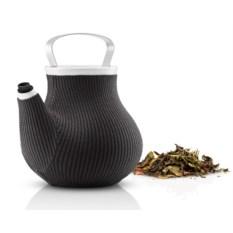 Серый заварочный чайник в вязаном гладком чехле Мy big tea