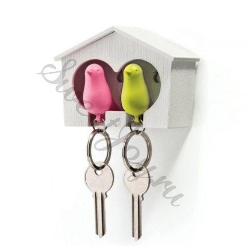 Настенный держатель для ключей Duo Sparrow, розовая и белая птички