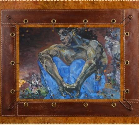Картина из кожи Демон сидящий Врубель