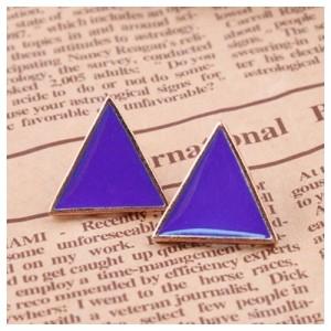Серьги-гвоздики Triangle (фиолетовые)