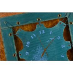 Часы из кожи Морской пейзаж (синий, квадратная рама)