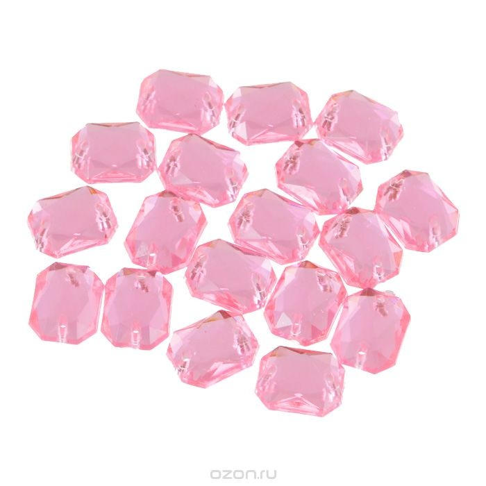 Пришивные стразы Астра, акриловые, прямоугольные, цвет: светло-розовые, 18 шт.