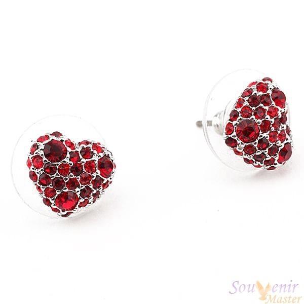 Серьги-гвоздики с кристаллами Swarovski Кабашон, сердечки