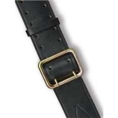 Офицерский ремень из кожи (черный, двухшпеньковый)