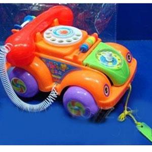 Каталка-машина-телефон на веревочке с часами