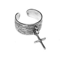Кольцо Крест из серебра, серебро 925