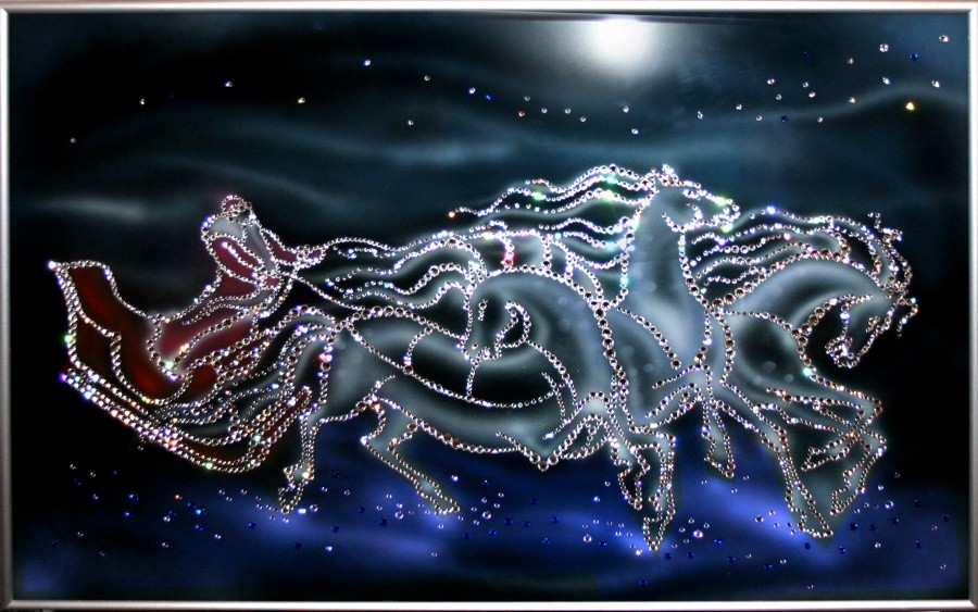 Картина с кристаллами Сваровски Новогодняя Тройка
