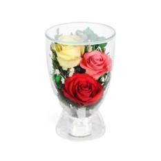 Букет-композиция из красных, желтых и розовых роз