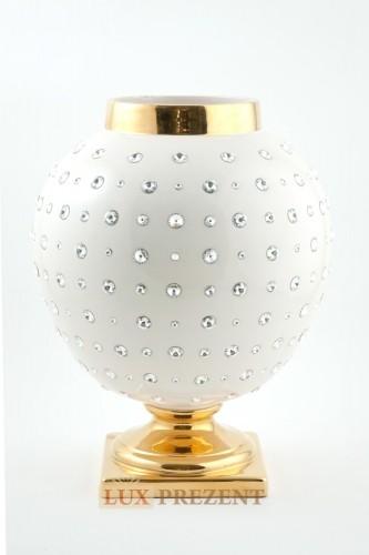 Ваза для цветов Мартина белая (керамика,золото, swarovski)