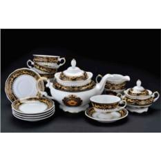 Фарфоровый чайный сервиз на 6 персон Camelia Nero
