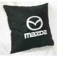 Черная подушка с белой вышивкой Mazda