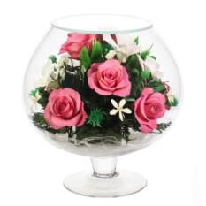Композиция из натуральных орхидей и роз.