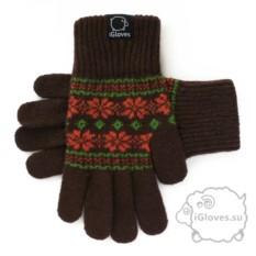 Коричневые шерстяные перчатки для сенсорного экрана IGloves