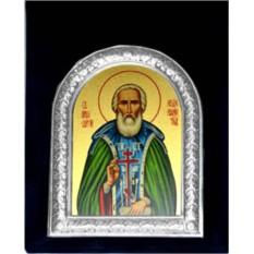 Серебряная икона Сергий Радонежский в бархатном футляре.