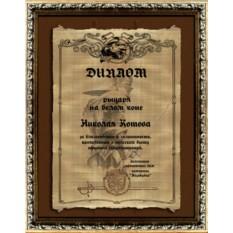Шуточный диплом-подарок для мужчины на пегаменте, 21х30 см
