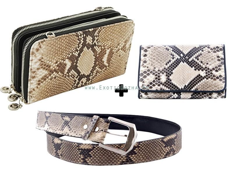 Набор аксессуаров: сумочка, кошелек и ремень, кожа питона
