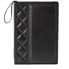 Черная кожаная папка-портфель