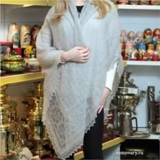 Оренбургский пуховый платок (паутинка, цвет: серый)