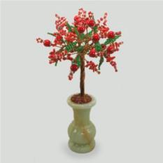 Дерево судьбы из коралла и бисера в вазочке из оникса