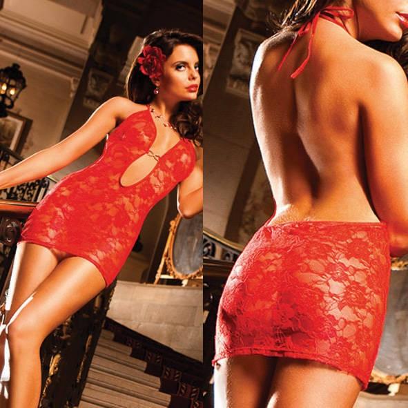 Мини-платье Spanish OS (42-46), красное кружево