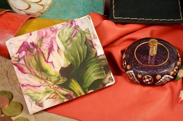 Бежевое кожаное портмоне Нежность цветка 39533