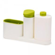 Белый органайзер для раковины с дозатором и бутылочкой